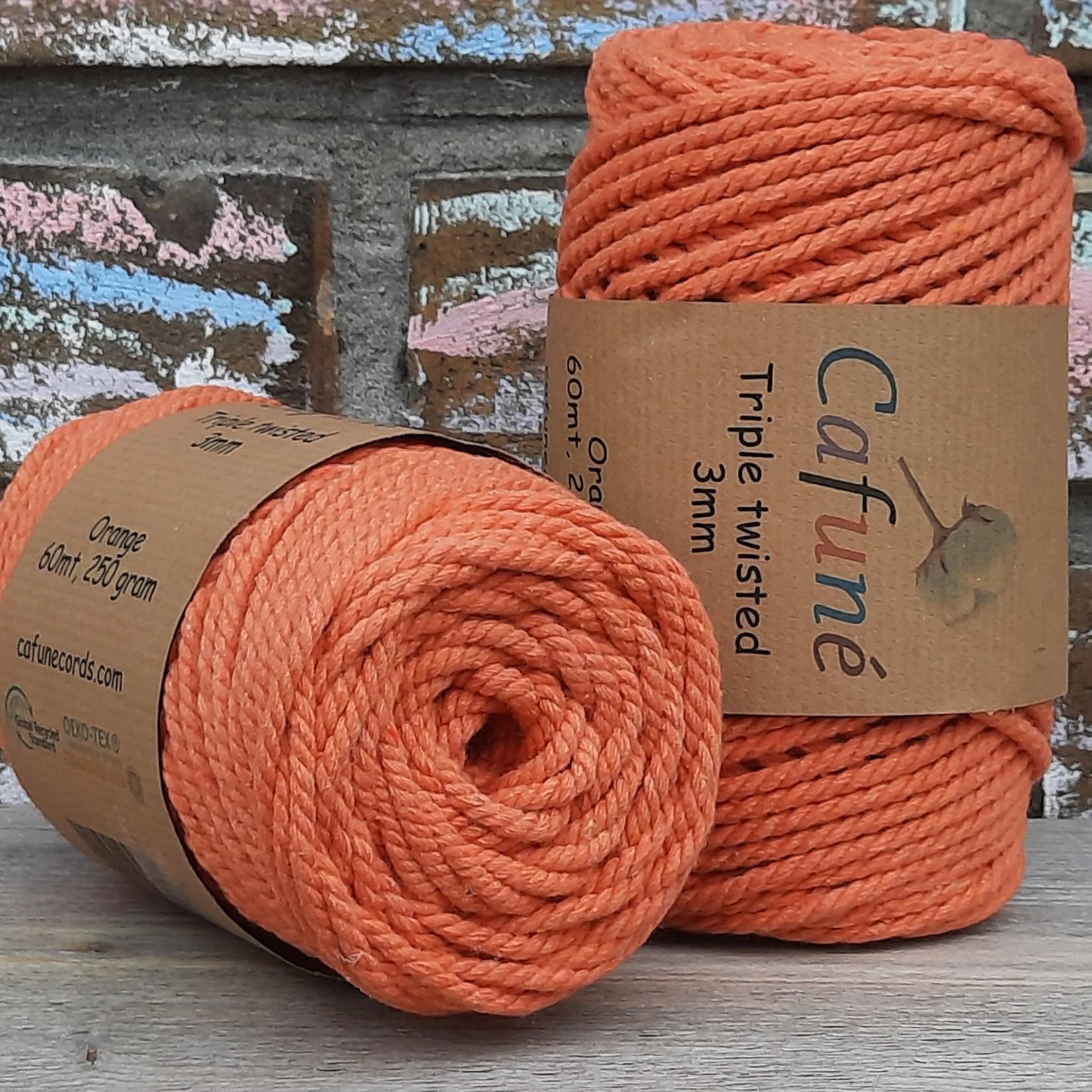 3mm Macrame touw Oranje, Triple twisted uitkambaar