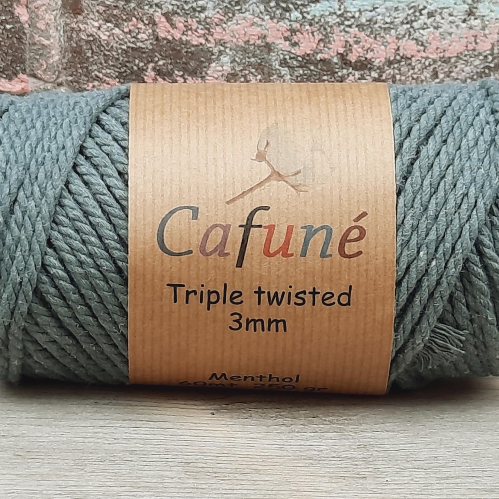 3mm Macrame touw Eucalyptus Triple twisted uitkambaar