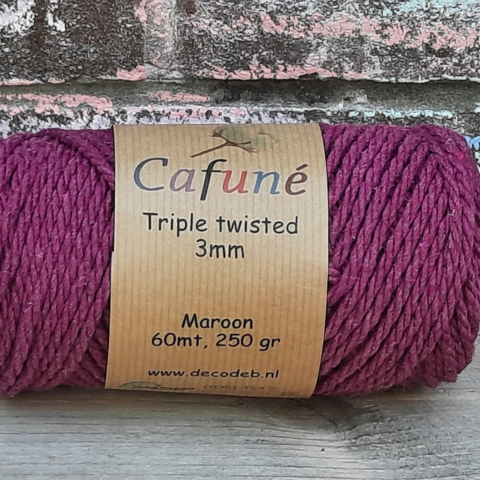 3mm Macrame touw Damson/Maroon Triple twisted uitkambaar