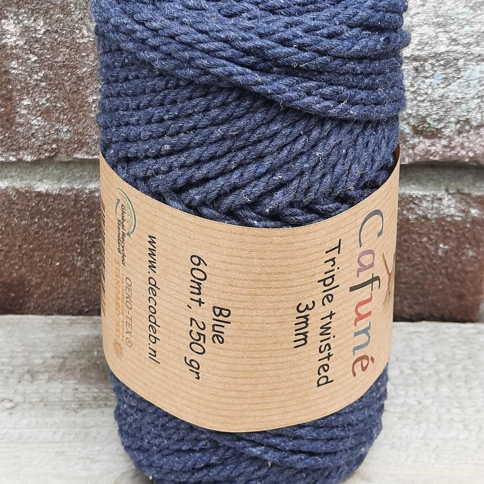 3mm Macrame touw Donkerblauw Triple twisted uitkambaar