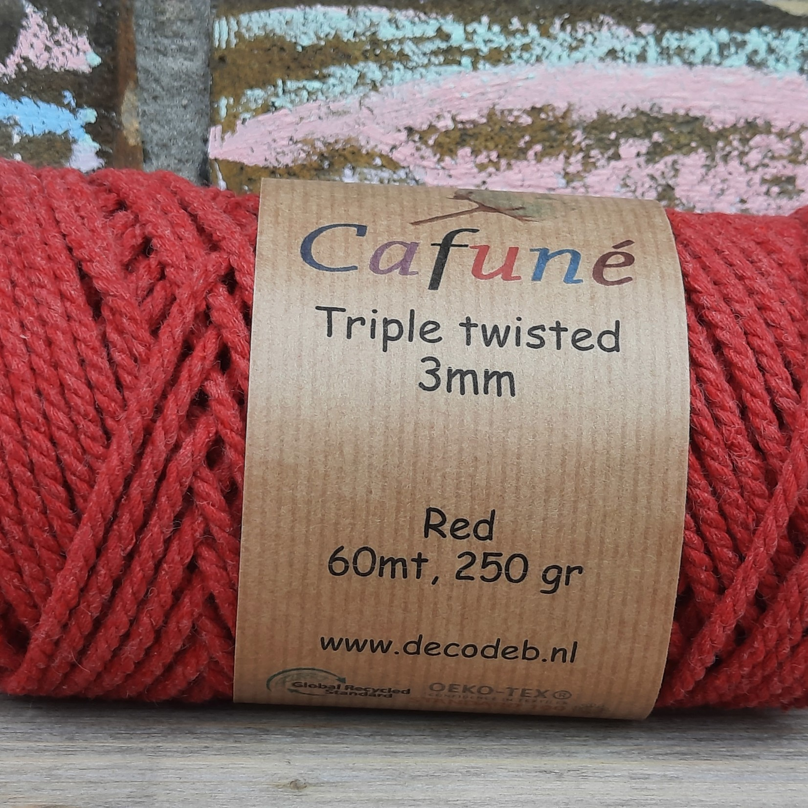 3mm Macrame touw Rood Triple twisted uitkambaar