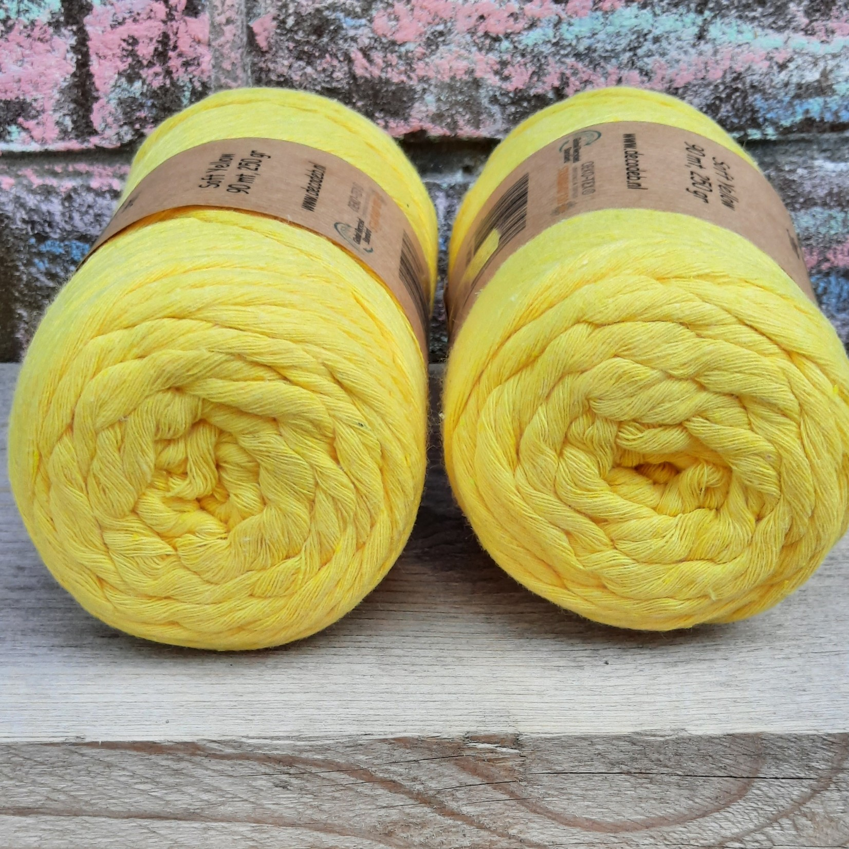 Macramé garen  - Soft Yellow - 3 mm - Singel twisted - gerecycled katoen