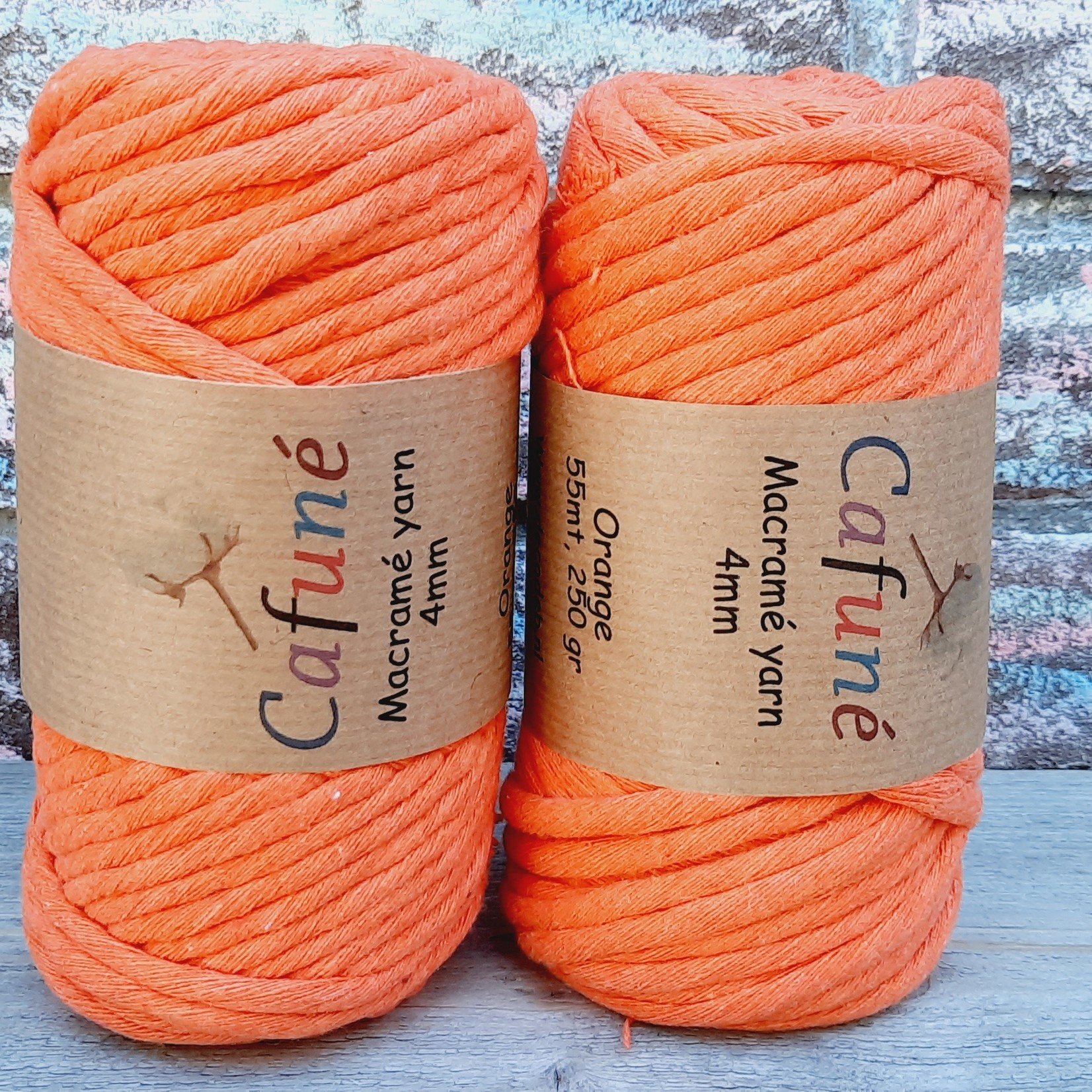 Macrame garen 4mm Oranje enkel gedraaid uitkambaar gerecycled katoen