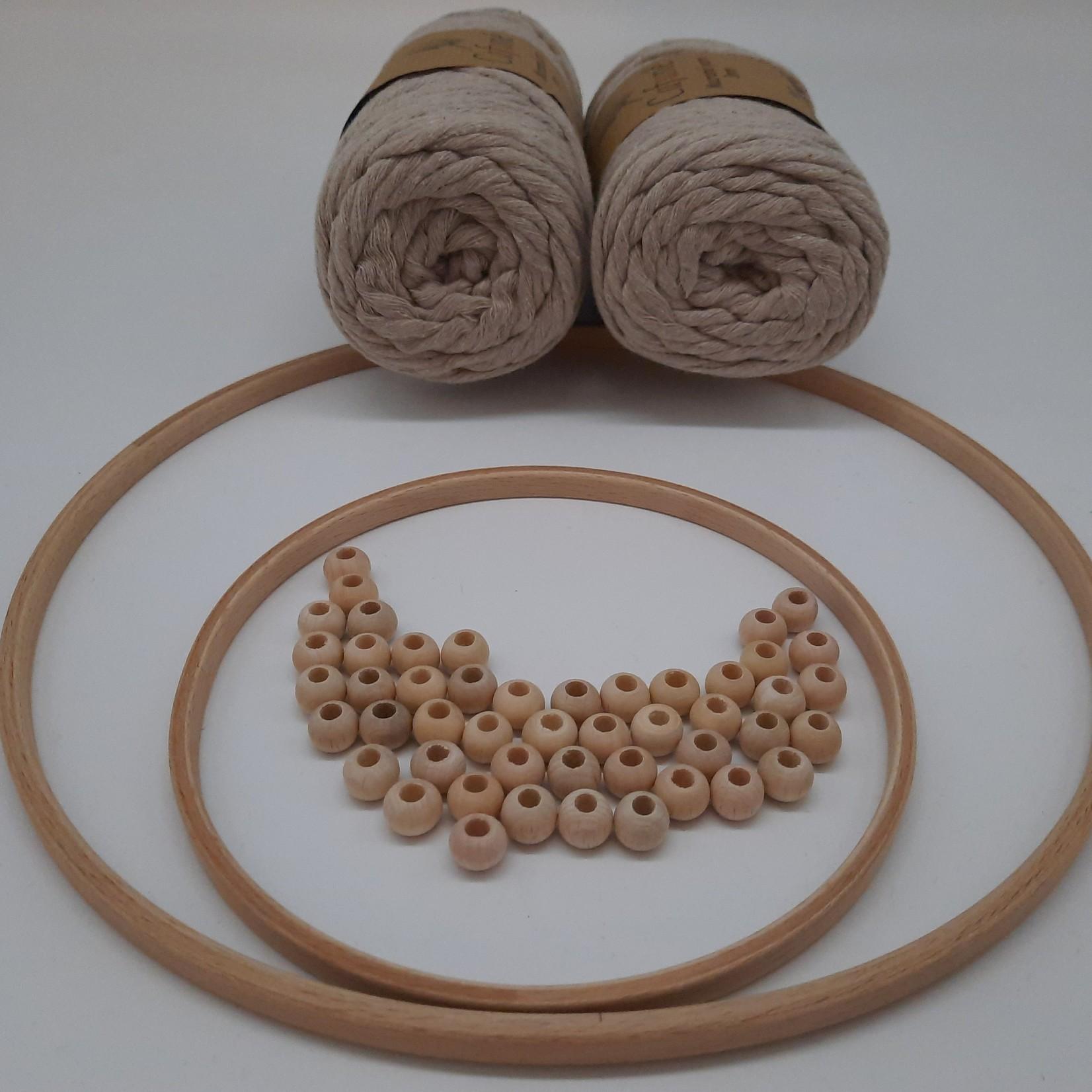 DIY set Beige met stokken, ringen en kralen