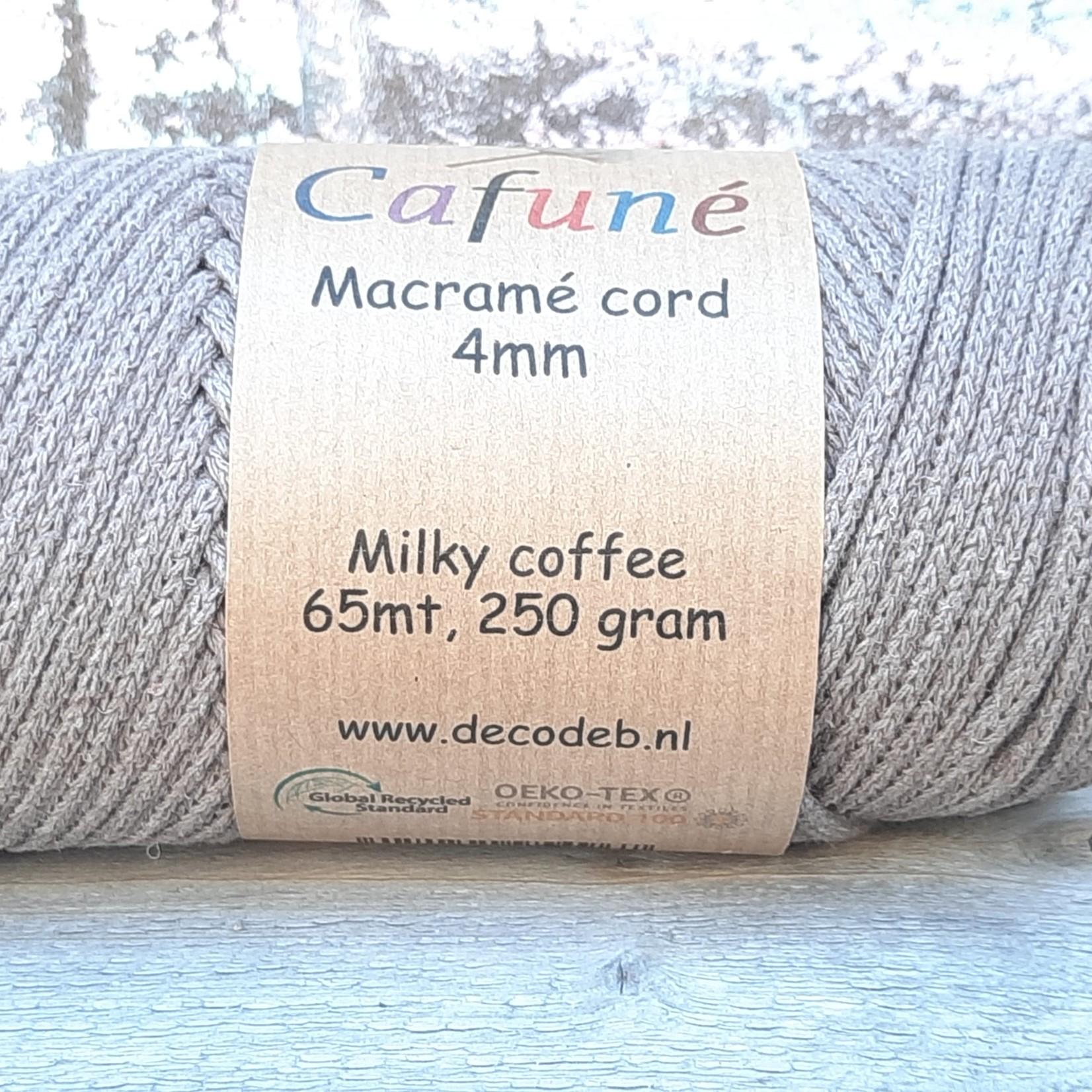 Macrame koord 4mm Milky Coffee gevlochten, gerecycled katoen