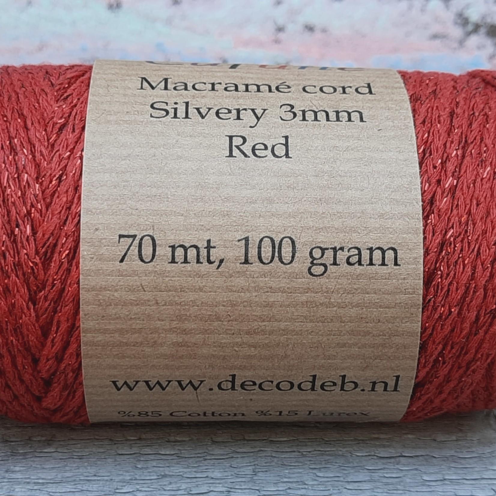 Macramé Silvery rood