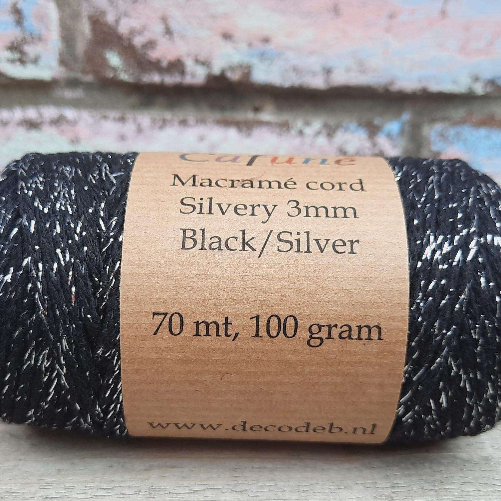 Macramé silvery Zwart/zilver