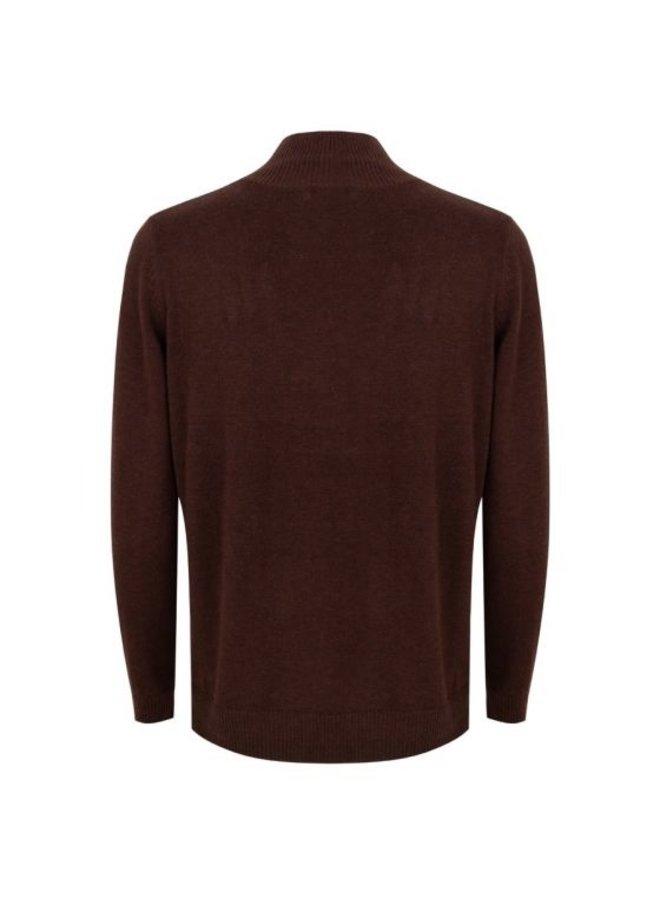Esqualo Sweater melange chest pocket chocolate