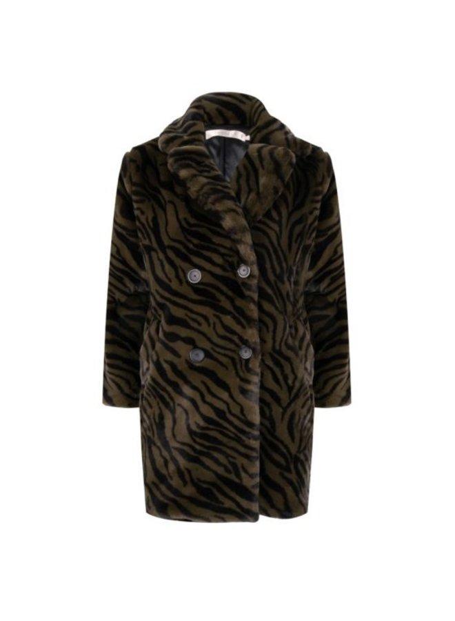 Esqualo Coat zebra fake fur long