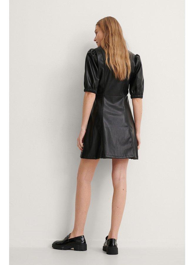 NA-KD Puff Sleeve Shirt PU Dress Black 1018-006303