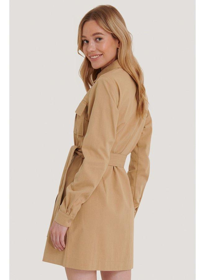 NA-KD Workwear Mini Dress Beige 1018-006280