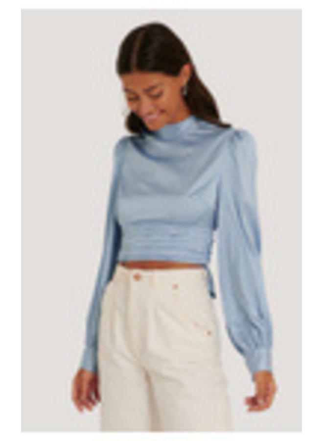 NA-KD Open Back Blouse Blue 1018-006267