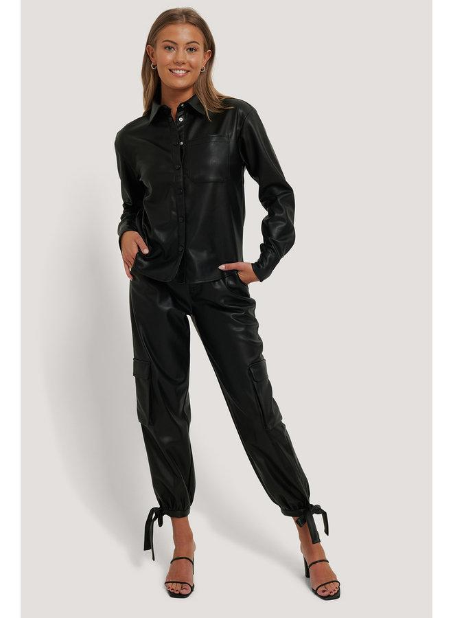 NA-KD PU Blouse Black 1018-006266