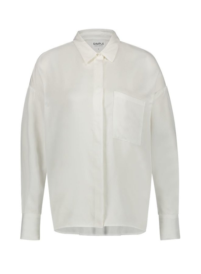 Simple Eloise White Boxy Blouse Lyocell-02