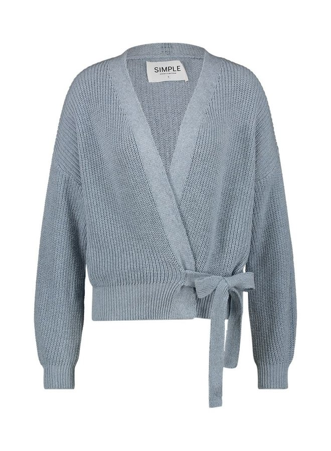 Simple Rosey Dusty Blue Wrapped Cardi with bow FUSION-01