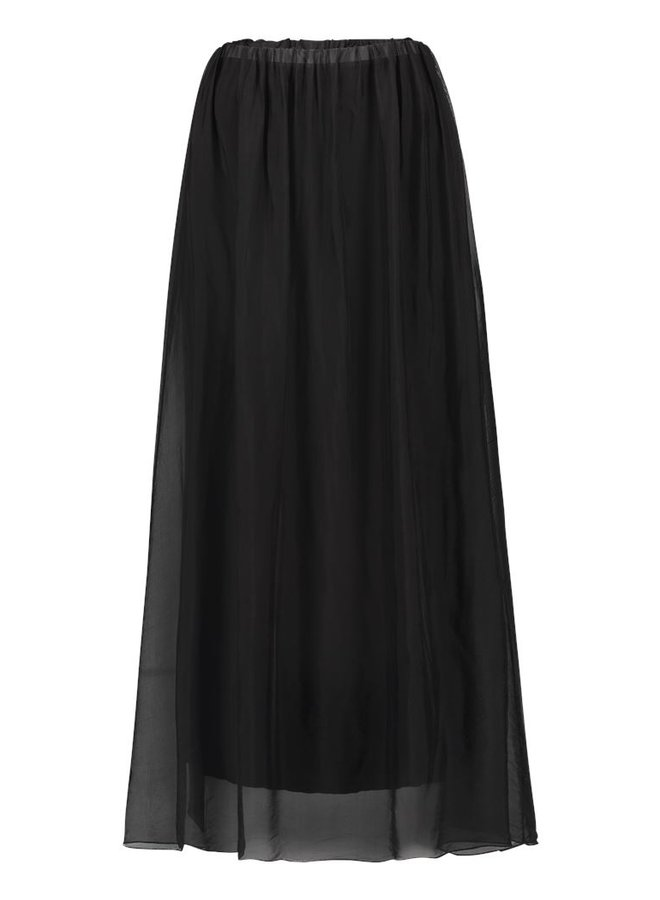 Simple Joyce double layers long skirt black Chif-Sil-01