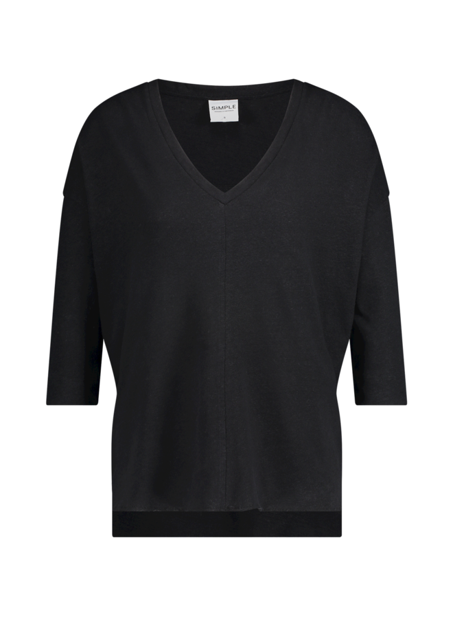 Simple Toadie Black Boxy Top IS Co-Lin-02