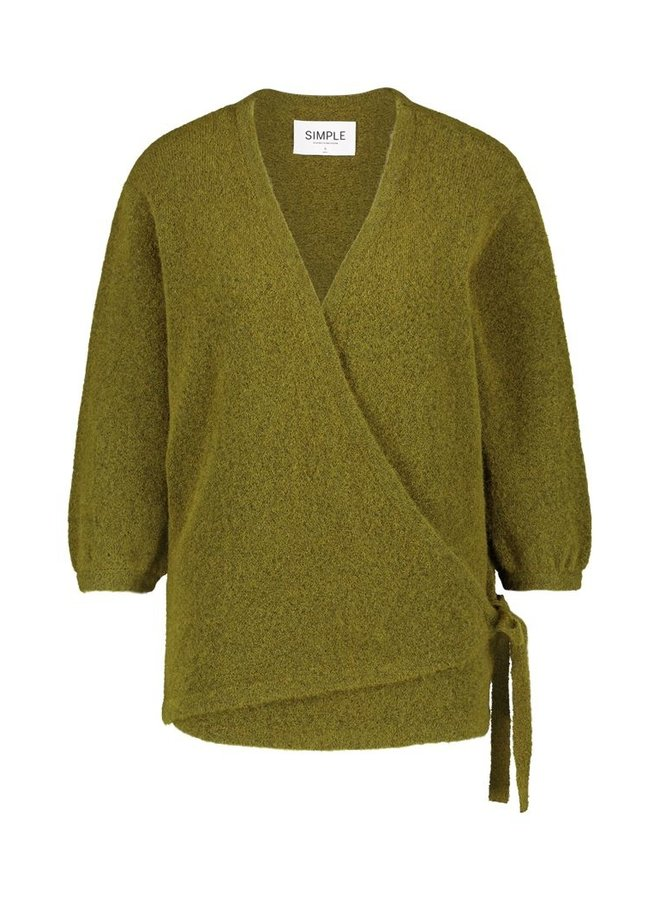 Simple Ken Moss Melange Wrap vest Fond-01