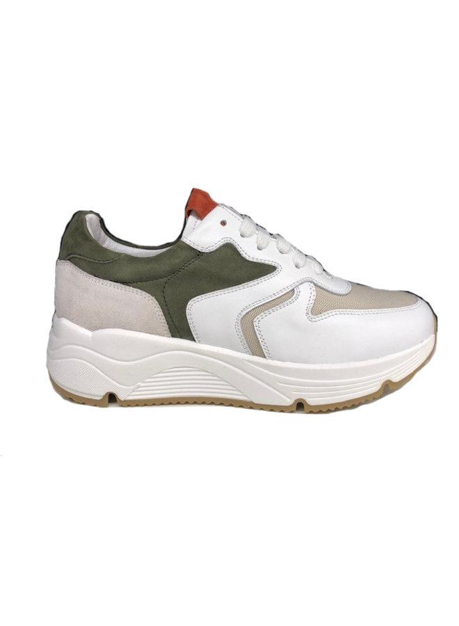 HIP Sneaker Wit Leder Beige Canvas D1918-212-30LE-22CV-65NU