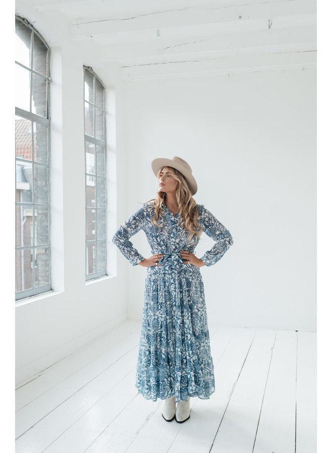 Amaya Luna jurk print blauw 21922