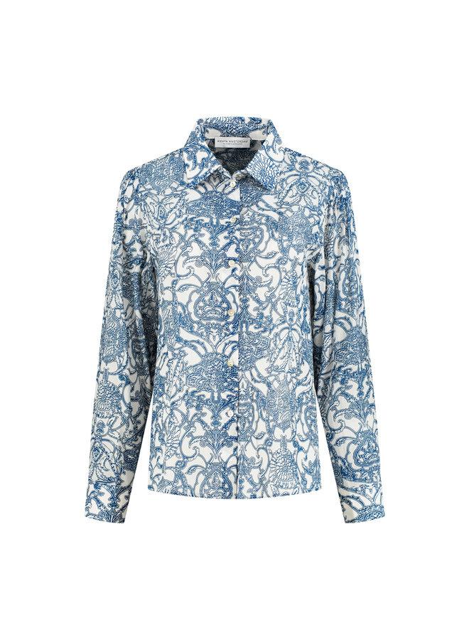 Amaya Poppy blouse print blauw 21834