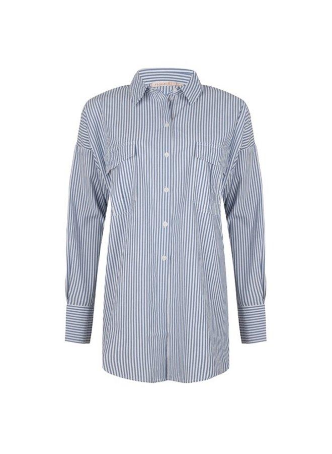 Esqualo Oversized blouse stripes 988 Blue/White SP21.06036