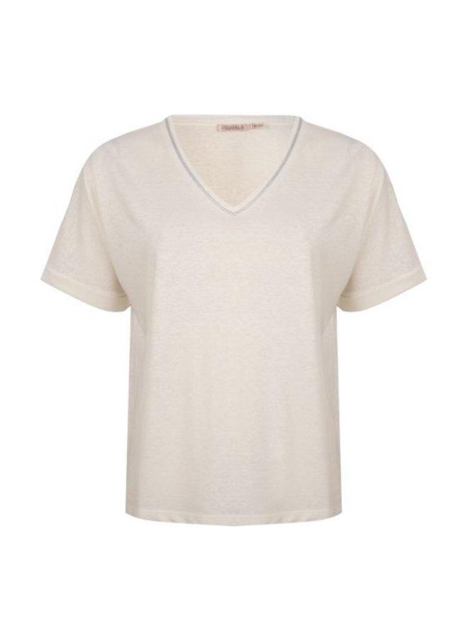 Esqualo T-shirt Linen Piping 100 White HS21.30220