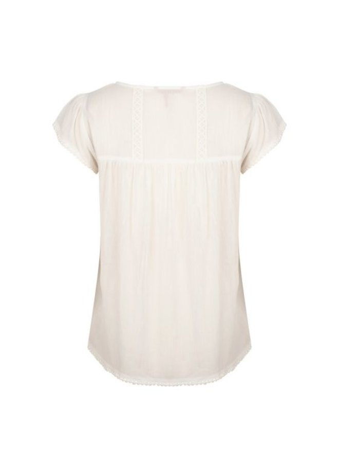 Esqualo blouse crinkle lace tape Off White HS21.15206