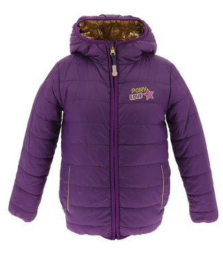 "EQUITHÈME  EQUIKIDS EQUIKIDS ""PONY LOVE"" REVERSIBLE PADDED JACKET W/HOOD"