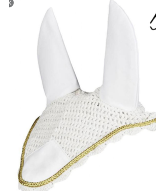 BUSSE BUSSE FLY VEIL with ears; white, gold and silver design