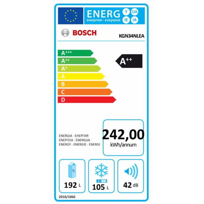 Bosch KGN34NLEA Koelvriescombinatie