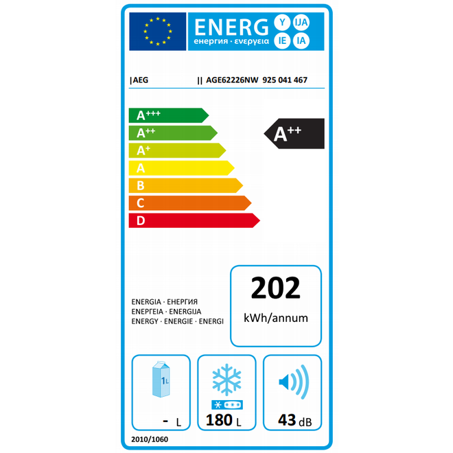 AEG AGE62226NW - Vriezer - 180 Liter - A++