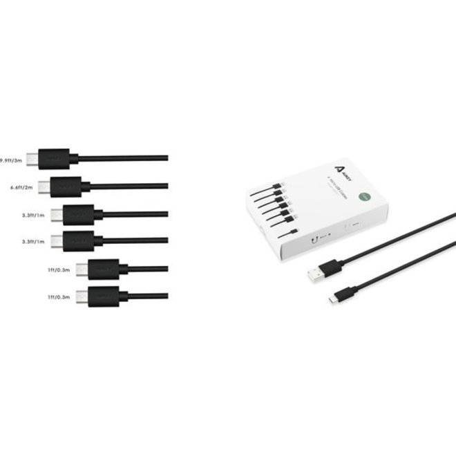 AUKEY 6-Pack Micro USB kabels