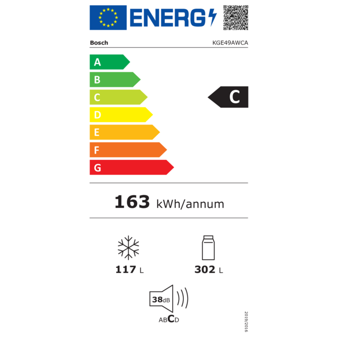 Bosch KGE49AWCA Vrijstaande XXL koel-vriescombinatie