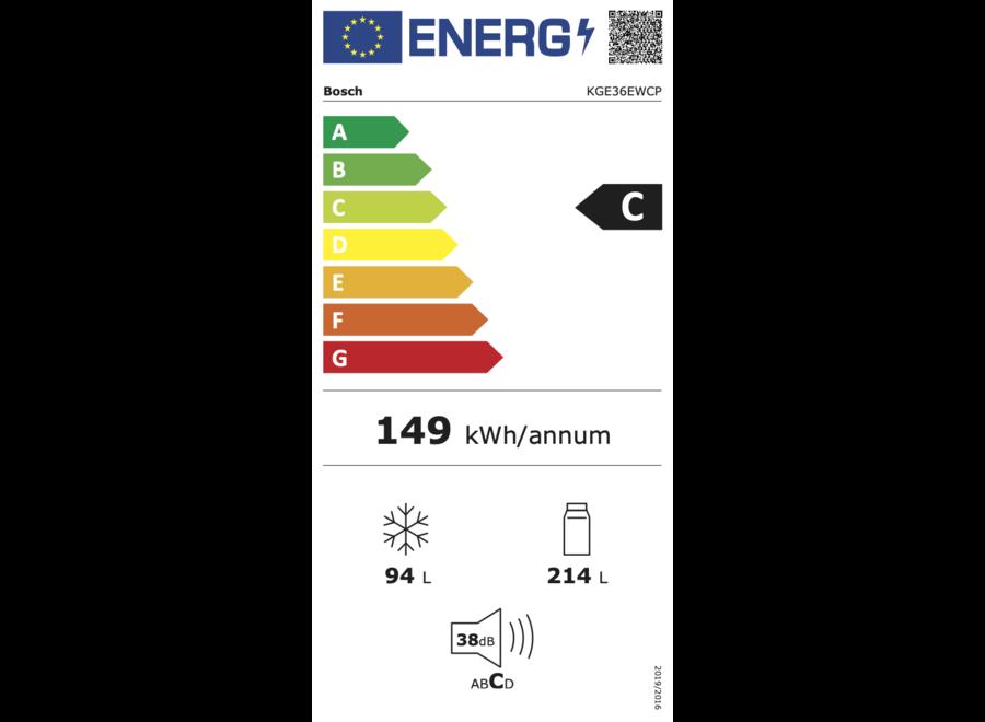 Bosch KGE36EWCP Vrijstaande koel-vriescombinatie