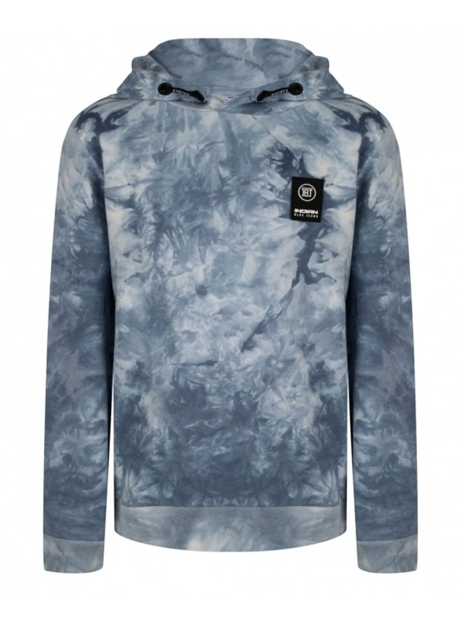 Hooded Tie Dye Washed Blue