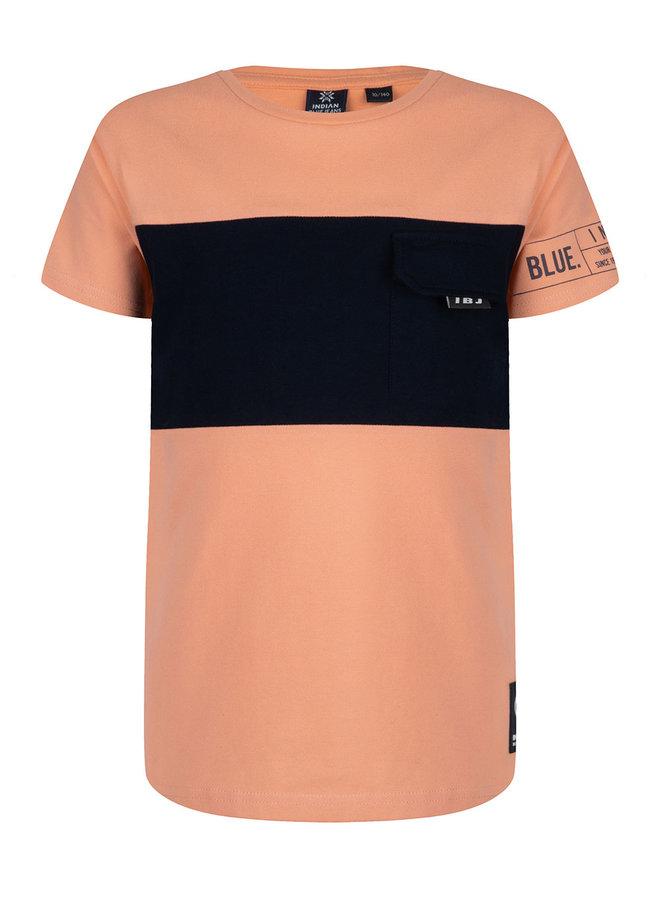 T-Shirt Ss Pique Pocket Bright Salmon