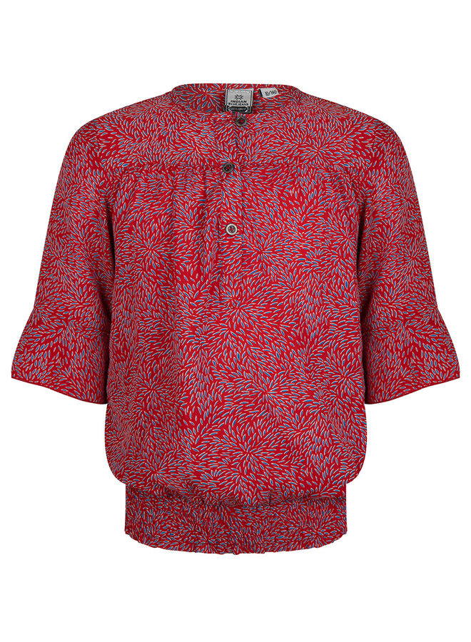 Button Shirt Rose Red