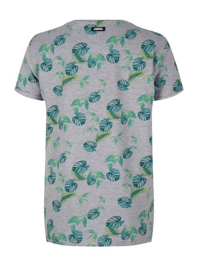 T-Shirt Ss Leaves Medium Grey Melange