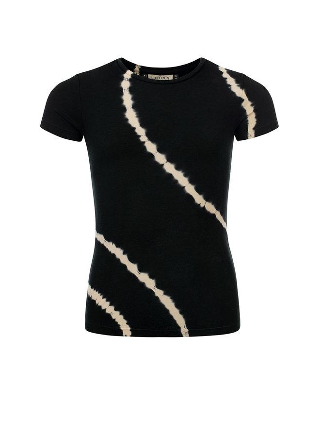 10Sixteen T-shirt bleach stripe Raven
