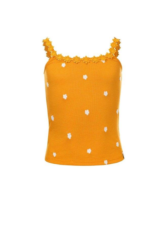 10Sixteen rib singlet with daisy Sunflower