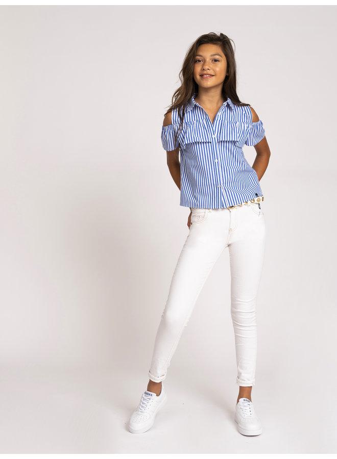 Olvia Top Off White/Royal Blue