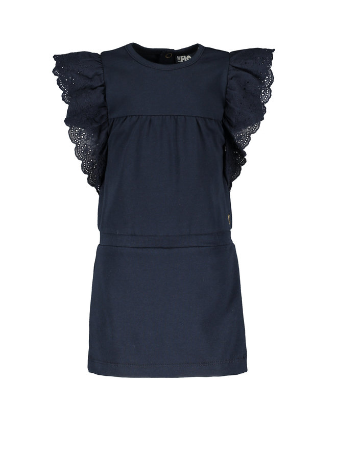 Flo baby girls jersey broidery anglais dress Navy