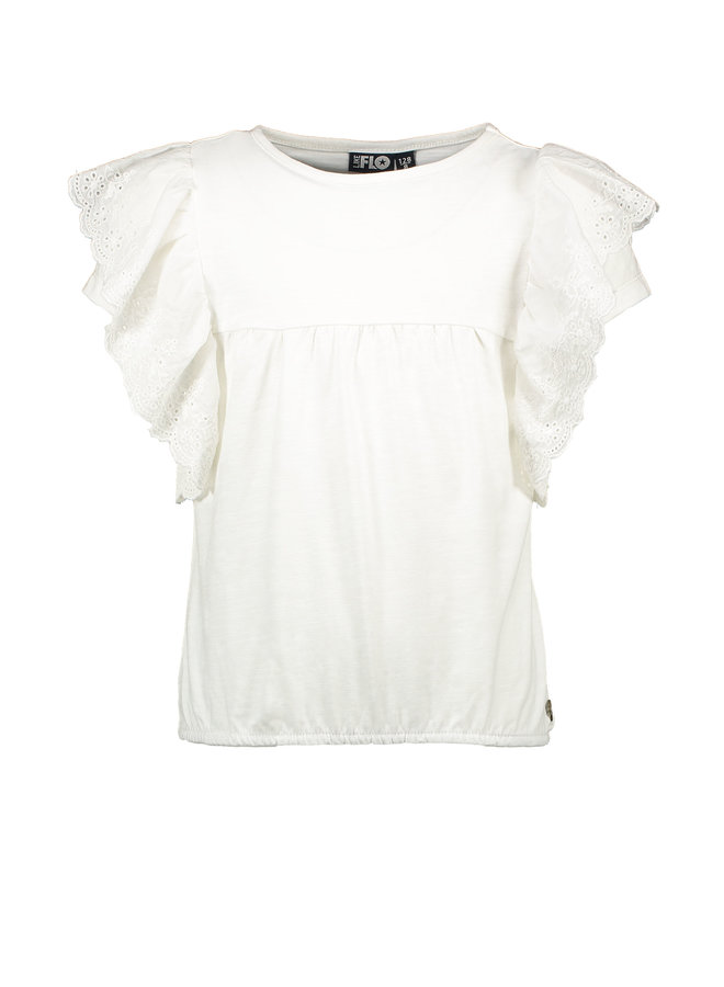 Flo girls jersey broidery anglais ruffle top Off white