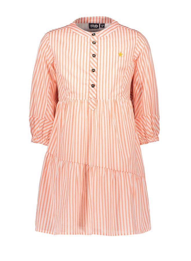 Flo girls woven tuniek Neon stripe
