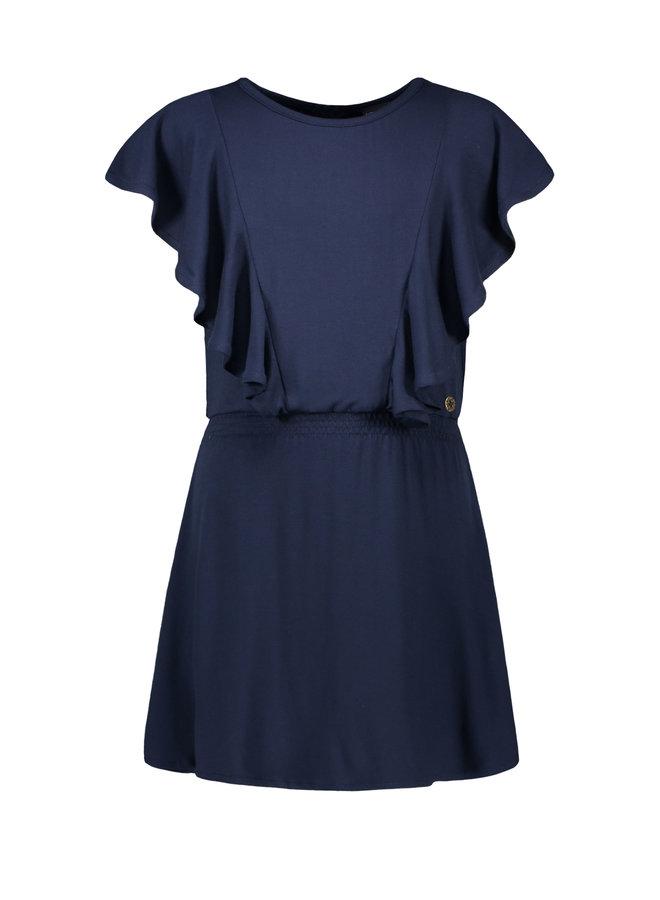 Flo girls viscose jersey ruffle smock dress Navy