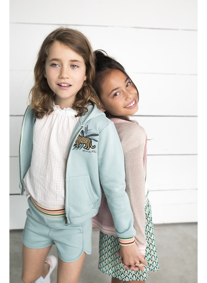 Flo girls hooded sweat cardigan Mint