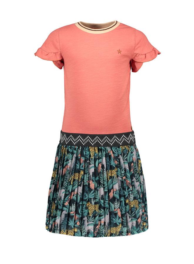 Flo girls jersey ruffle dress with AO plisse skirt Blush