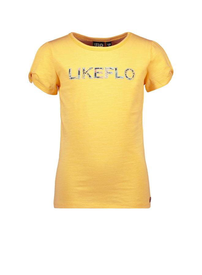 Flo girls tee open shoulder roll divers Honey