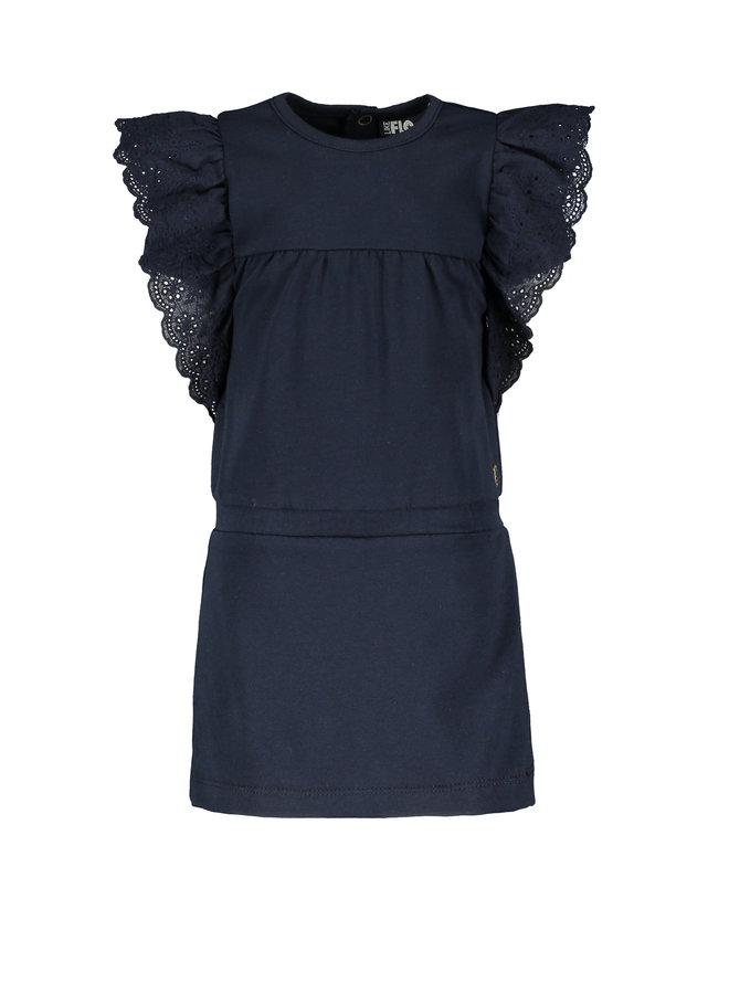 Flo baby girls jersey broidery anglais dress Navy F102-7830